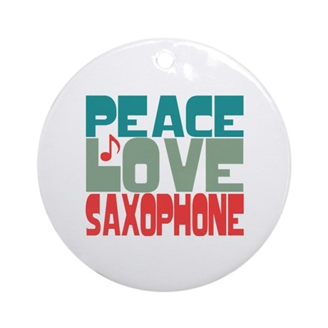 Peace Love Saxophone Ornament (Round)