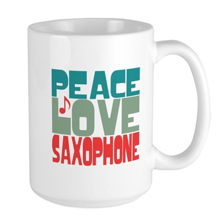 Peace Love Saxophone Large Mug