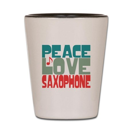 Peace Love Saxophone Shot Glass
