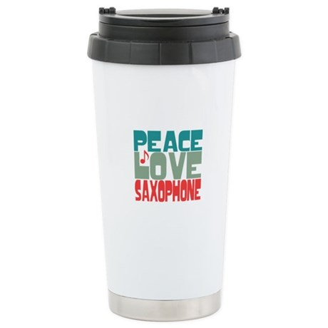 Peace Love Saxophone Ceramic Travel Mug