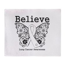 Believe Lung Cancer Throw Blanket