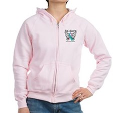 Believe Thyroid Cancer Zip Hoodie