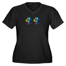 2 PAWS Women's Plus Size V-Neck Dark T-Shirt