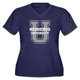 Hedgehog UNIVERSITY Women's Plus Size V-Neck Dark
