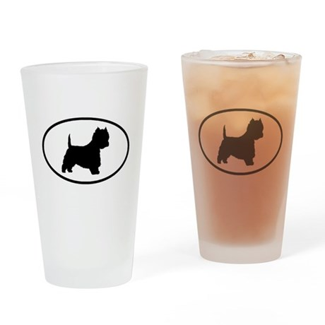 West Highland Terrier Oval Drinking Glass