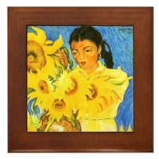 Diego Rivera Sunflower Garden Art Framed Tile