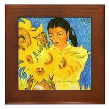 Diego Rivera Sunflower Garden Art Framed Tile