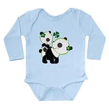 Irish Panda Bear Shamrock Long Sleeve Infant Bodys