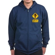 Hockey Player Caution Sign Zip Hoodie
