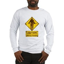 Hockey Player Caution Sign Long Sleeve T-Shirt