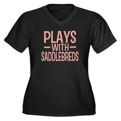 PLAYS Saddlebreds Women's Plus Size V-Neck Dark T-