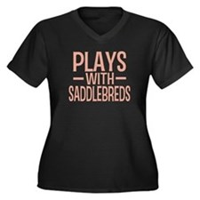 PLAYS Saddlebreds Women's Plus Size V-Neck Dark T-
