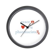 Peace, Love and Pharmacists Wall Clock