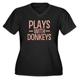 PLAYS Donkeys Women's Plus Size V-Neck Dark T-Shir