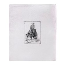 Cutting Horse Drawing Throw Blanket