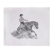 Reining Horse drawing Throw Blanket