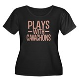 PLAYS Cavachons Women's Plus Size Scoop Neck Dark