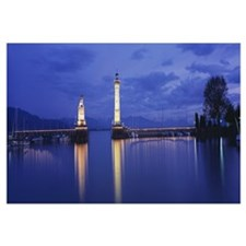 Germany, Lindau, Reflection of Lighthouse in the l