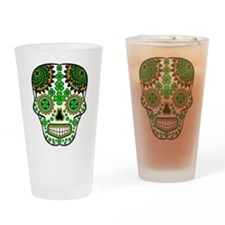 Shamrock Sugar Skull Drinking Glass