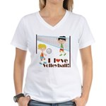 I Love Volleyball Women's V-Neck T-Shirt