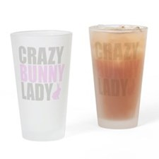 CRAZY BUNNY LADY Drinking Glass