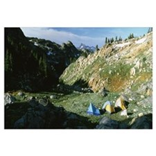 Dome tents in a landscape, Beartooth Mountains, Mo