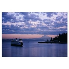 Ferry in the sea, Elliott bay, Puget Sound, Washin