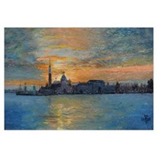 San Giorgio, Venice Lagoon, 2008 (oil on board)