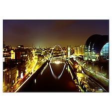 Reflection of a bridge on water, Millennium Bridge