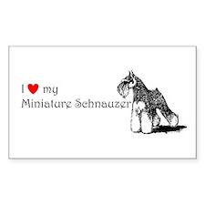Love My Mini-Schnauzer Rectangle Decal
