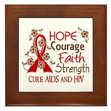 Hope Courage Faith AIDS Framed Tile