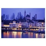 Switzerland, Rapperswil, Lake Zurich, evening