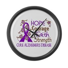 Hope Courage Faith Alzheimers Large Wall Clock