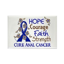 Hope Courage Faith Anal Cancer Rectangle Magnet (1