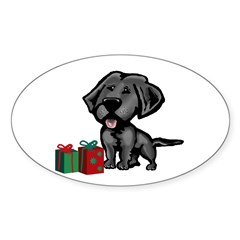 Black Lab Christmas Oval Sticker