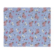 Vintage floral design on baby Throw Blanket