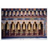 Prayer wheels in a temple, Chimi Lhakhang, Punakha