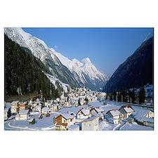 High angle view of a town, Pettneu, Austria