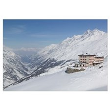 Hotel on a snowcovered landscape, Riffelberg Hotel