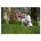 Lion statue in a garden, Torosay Castle, Isle Of M