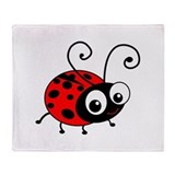 Cute Ladybug Throw Blanket