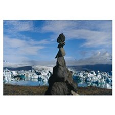Stack of rocks on a landscape, Breidamerkurjokull,