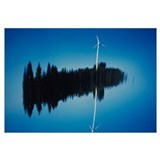 Reflection Of A Wind Turbine And Trees On Water, B