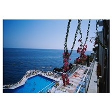 High angle view of tourists at a tourist resort, L