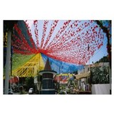 Streamers hanging over a street, Sao Vicente, Made