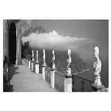 Marble busts along a walkway, Ravello, Amalfi Coas