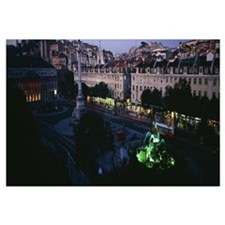 High angle view of a fountain, Rossio Square, Lisb
