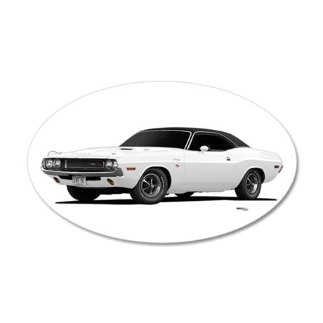 1970 Challenger White 22x14 Oval Wall Peel