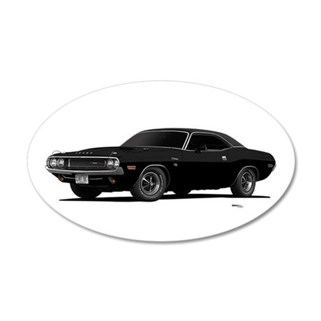 1970 Challenger Black 38.5 x 24.5 Oval Wall Peel