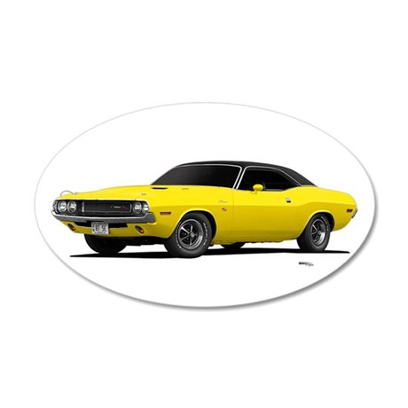 1970 Challenger Bright Yellow 22x14 Oval Wall Peel